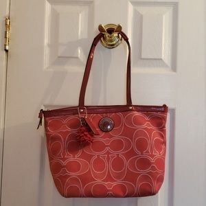 Authentic Coach Red Logo Tote